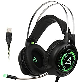 [2017 Newly Updated USB Gaming Headset] SUPSOO G815 Gaming headphone Computer Over Ear Bass Stereo Gaming Headsets With Mic Noise Isolating Volume Control LED Light For PC & MAC (Black & Green )
