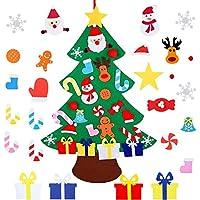 Gxhong Árbol de Navidad del Fieltro, 26 Adornos Desmontables, decoración navideña para niños, decoración de la Pared de la Puerta para niños.