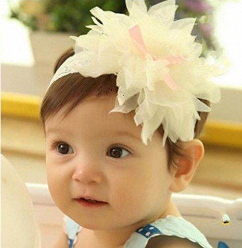 PinkXenia Bowknot Cream Big Flower Petal Newborn BabyGirl Soft Headband