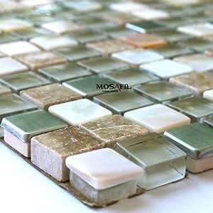 glas edelstahl metall perlmutt mosaik fliesen beige baumarkt. Black Bedroom Furniture Sets. Home Design Ideas