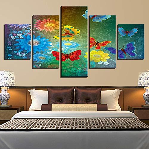 caoyiyi Cinq Peintures sur Toile Impression sur Toile Abstrait Tableaux Decoration Murale Photo Image Artistique Photographie Graphique Couleur Papillon Violet Rouge-C-40X60Cmx2- Cadre