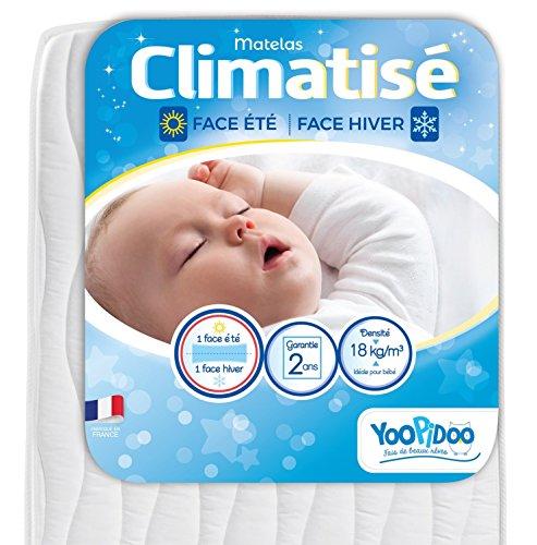 Yoopidoo - Matelas Bébé Climatisé - 60x120 cm - 1 face Été fraîche / 1 face Hiver ouatinée - Sans Traitement chimique - Oeko Tex® - Fabrication Française