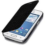 kwmobile Funda estilo Flip Cover para Samsung Galaxy Ace 4 (G357h) con soporte. Funda protectora con tapa de piel sintética Cartera estilo Flip Case en negro