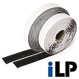 iLP - Cinta de velcro autoadhesiva (10 metros de largo), color negro 20 mm de ancho – Fijación segura extra fuerte para mejoras en el hogar, manualidades y bricolaje – 1 rollo de cinta de gancho y bucle