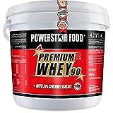 PREMIUM WHEY 90-51,00% CFM Whey Isolat - Weidenmilch Molkenprotein mit 90% i.Tr. Proteingehalt - Perfekt für Muskelaufbau & Abnehmen - Extrem lecker - Made in Germany - 5000g Eimer (Strawberry)