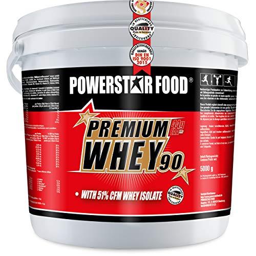 PREMIUM WHEY 90-51,00% CFM Whey Isolat - Weidenmilch Molkenprotein mit 90% i.Tr. Proteingehalt - Perfekt für Muskelaufbau & Abnehmen - Extrem lecker - Made in Germany - 5000g Eimer (Natur)