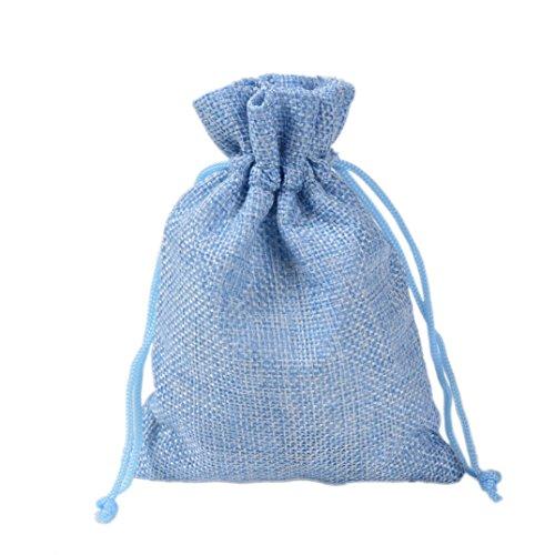 10 pezzi yfzyt sacchetti regalo gioielli biancheria sacco di iuta sacchetto coulisse per matrimonio, decorazione, coulisse matrimonio favore, sacchetti regalo - 10 pz, 7 x 9 cm, azzurro