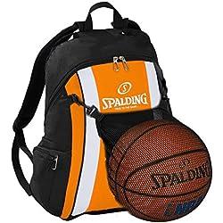 Spalding–Mochila de baloncesto, color naranja/negro Incluye Red de pelota y botella