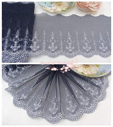 Doe Kostüm Jane - FidgetGear Tüll-Bordüre, Bestickt, Blumenmuster, Marineblau/Silberweiß, Wie abgebildet, One Size