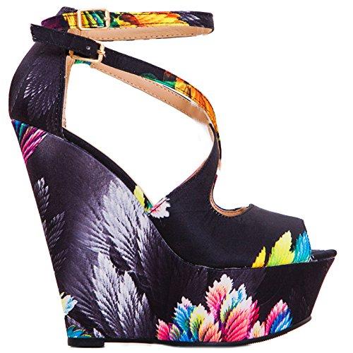Toocool - Chaussures Femme Coins Fantaisie Plumes Fleurs Hauts Talons 15 Radeaux Nouveau K1z1368-1 Noir