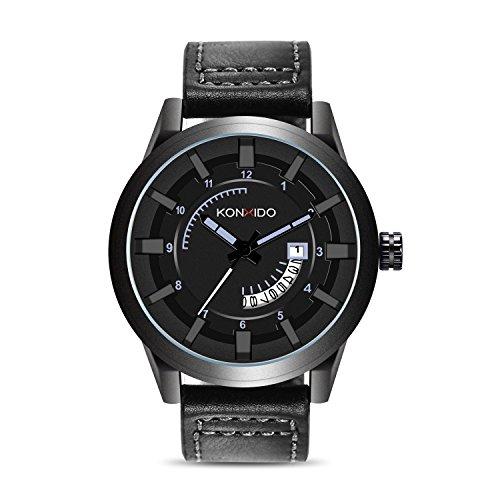 ual Series Herren Quarz Kalender Uhr mit braunem Zifferblatt analog Display und Luxus echtes Lederarmband-Mode Design Kleid Uhr 3ATM wasserdicht mit Edelstahl-Gehäuse ()