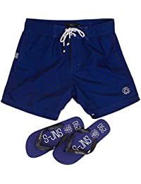 Smith & Jones Baryon Boardshort Swimshorts & Flip Flops Bundle Set