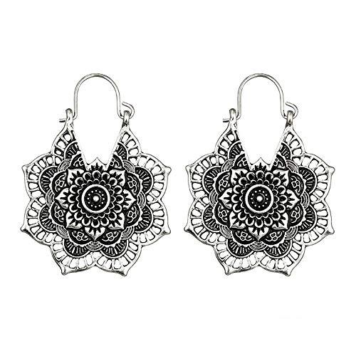 Yvelands Ohrringe Modeschmuck Antike Silberne Gypsy Indian Tribal Ethnic Hoop baumeln Mandala Ohrringe Boho