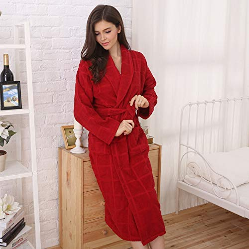 Lässige Nachtwäsche Baumwollbademäntel Hotel Baumwollbademantel Frauen Lange Dicke Handtuch Material Nachthemd (Farbe: Rot, Größe: M (Länge des Kleidungsstücks 110)) Sexy Dessous