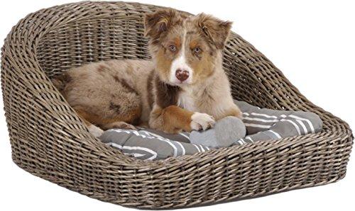 Hundekorb Rattan in grau, mit Kisseneinlage