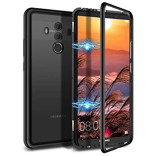 CE-Link Kompatibel mit Huawei Mate 10 Pro Hülle Glas mit Magnetisch Panzerglas Rückseite Durchsichtig Handyhülle Transparent Hard Case Ultra Slim Dünn 360 Grad Full Body - Schwarz