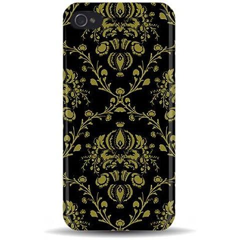 iPhone 5/5S Flock Fashion Chintz motivo (nero oro &) 3D