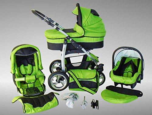 Chilly Kids Dino Kinderwagen Sommer-Set (Sonnenschirm, Autositz & Adapter, Regenschutz, Moskitonetz, Getränkehalter, Schwenkräder) 22 Grün & Schwarz