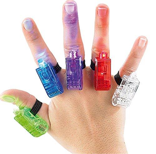 Innotechcity Super Bright Finger Taschenlampen Bunte LED Finger Fingerlichter Lichter ideal für Party mit Gummiband (10 Stück (Farbe zufällig)) - Led Finger Licht