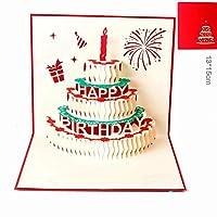 Papel spiritz 3d Pop Up Tarjeta de vela de cumpleaños para tartas juego de 6Personalized Customized impresión hecha a mano corte láser tarjetas postales con sobre en blanco a juego para él o ella o de sus hijos