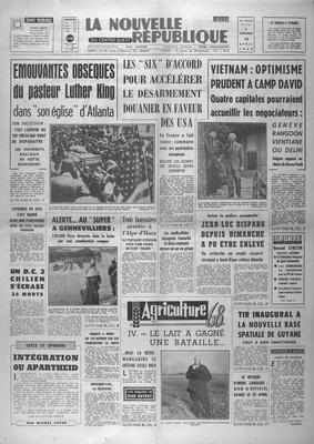 NOUVELLE REPUBLIQUE DU CENTRE OUEST (LA) [No 7167] du 10/04/1968 - EMOUVANTES OBSEQUES DU PASTEUR LUTHER KING DANS -SON EGLISE- D ATLANTA LES -SIX- D ACCORD POUR ACCELERER LE DESARMEMENT DOUANIER EN FAVEUR DES USA VIETNAM - OPTIMISME PRUDENT A CAMP DAVID - TIR INAUGURAL A LA NOUVELLE BASE SPATIALE DEE GUYANE INTEGRATION OU APARTHEID - PAR MICHEL DUFAU par COLLECTIF