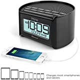 iHome IBT230BBC Bluetooth Bedside Dual Alarm Clock Radio (Black) with Speakerphone, USB Charging and Line-in