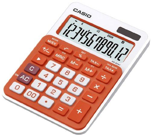 Galleria fotografica CASIO MS-20NC-RG calcolatrice da tavolo - Display a 12 cifre, struttura di colore bianco/arancione