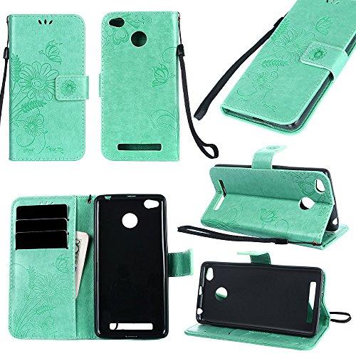 Premium PU Leder Folio Stand Case, Solid Farbe prägeartig Blumen Stil Schutzhülle Tasche Tasche mit Lanyard & Card Slots für Xiaomi Hongmi Redmi 3S & 3X & 3 Pro ( Color : Modena ) Green