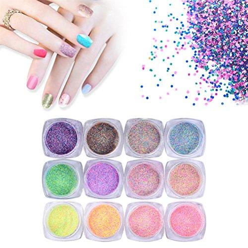 Nagelpuder, 12 Farben Nagelkunst Glitter Schimmer Fluoreszierende Perlpuder Staub Tipps Dekoration Nagel DIY Zubehör