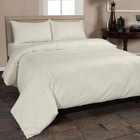 Homescapes 400 Thread Count Organic Cotton Duvet Cover Set Cream Continental Size 155 x 220 cm Egyptian Cotton Percale Anti Dust Mite Anti Allergen