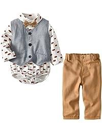 Baby Hemdbody mit Fliege + Weste + Hose/Bekleidungsset Junge Kleinkinder Gentleman Anzug Baumwolle Set Babyanzug