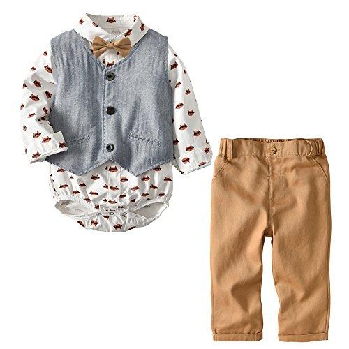Baby Hemdbody mit Fliege + Weste + Hose/Bekleidungsset Junge Kleinkinder Gentleman Anzug Baumwolle Set Babyanzug Gelb