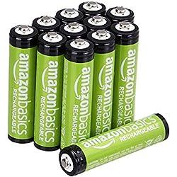 AmazonBasics Lot de 12 piles rechargeables Ni-MH Type AAA 800 mAh