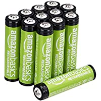 AmazonBasics AAA Rechargeable Batteries, Pre-charged - Pack of 12 (Appearance may vary)