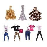 MagiDeal 7 Sets Fashion Puppe Bekleidung, Puppe Kleid Shirt Mnatel Hosen, Outfit Für Barbie 12inch Puppe
