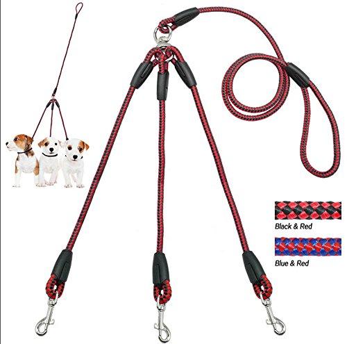 Preisvergleich Produktbild Malayas® Hundeleine 3 in 1 Doppelleine Hundegeschirr 1.4m Lang Koppel Gurt Seil Reflektierend Geflochten Nylon Training Hunde Leine für 3 Hunde