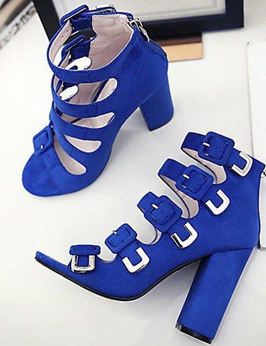 UWSZZ IL Sandali eleganti comfort Scarpe Donna-Sandali-Formale / Casual / Serata e festa-Tacchi / Spuntate-Quadrato-Di pelle-Nero / Blu / Fuchsia / Tessuto almond Black