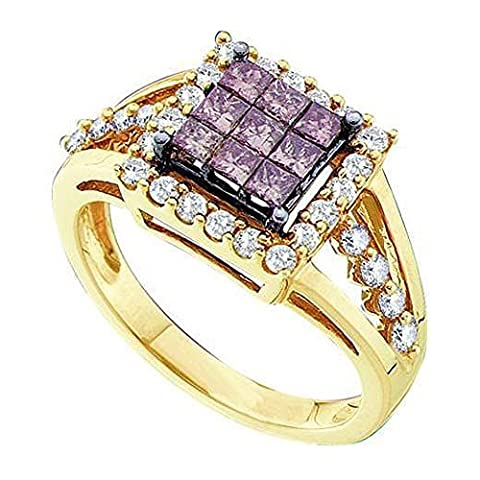 Bague Femme 1.00 ct 14 ct 585/1000 Or Jaune Rond And Princess Blanc And Cognac Diamants 1 ct