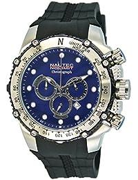 Nautec No Limit Herren-Armbanduhr XL Big Flash Chronograph Quarz Kautschuk BF-QZ-RBSTSTBL-BK