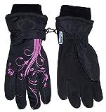 NICE CAPS Girls Thinsulate Waterproof Glove with Flower Tattoo Print (6-8 Years, Black)