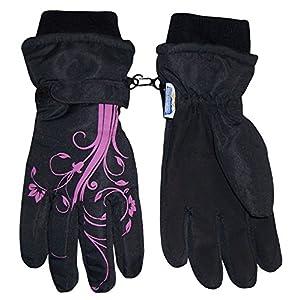 N'Ice Caps Girls Thinsulate Waterproof Glove with Flower Tattoo Print