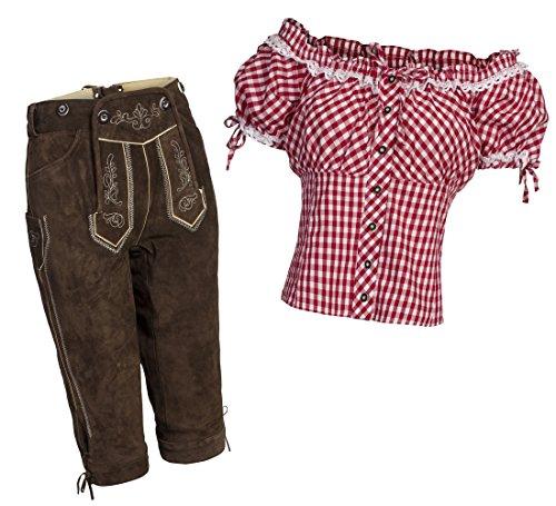 Damen Set Lederhose Kniebund dunkelbraun Gr. 38 + Carmenbluse Rot Gr. 38
