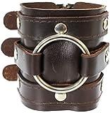 Dark Brown Leather Wide Triple Strap Cuff Wrap Gothic Wristband Buckle Fastening - 46