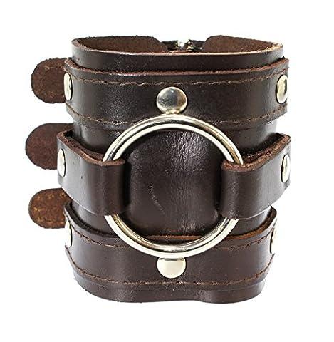 Cuir large sangle triple enveloppe de brassard bracelet gothique boucle de fermeture - cuir marron