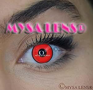 """Lentilles De Contact De Couleur Fantaisie Crazy Lens Cosplay """"MYSA LENS®"""" Yeux Rouge Cercle Noir / Red Manson + Solution Pour Lentilles 10ML + Etui Offert -12 Mois sans correction"""