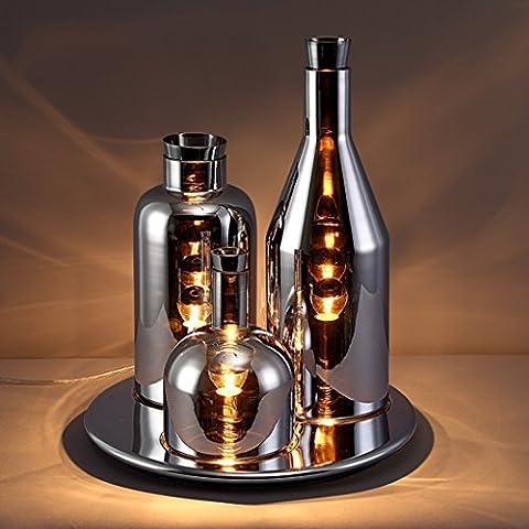 MI LUCE Retro industrielle postmoderne Wohnzimmer Lampe kreative Persönlichkeit Bar Restaurant Kunst Glas Tischlampe ( Farbe : Chrom )