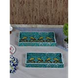 RANGRAGE Handcrafted Pleasing Peacocks Rectangular Wooden Trays - Set Of 2