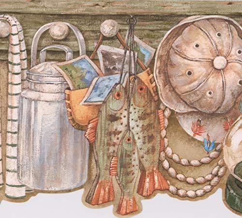 Retro Art Regal mit Korb Fisch Milch Krug Lampe Hut hängen an dem Haken Vintage Wallpaper Border Retro-Design, Roll-15' x 9'' (Milch-krug Vintage)