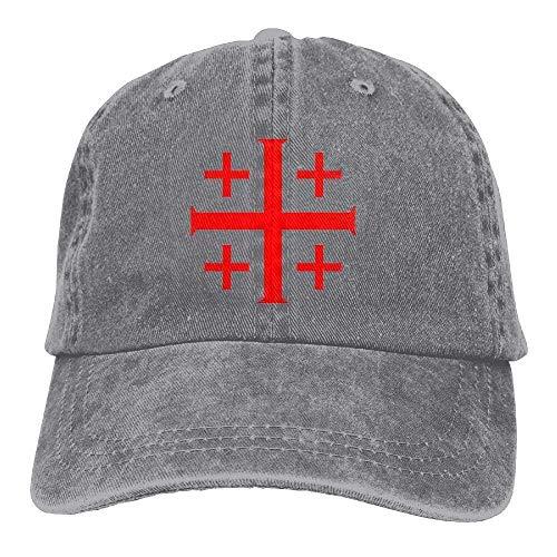 Red Jerusalem Crusaders Cross Denim Hat Trucker Cap Natural