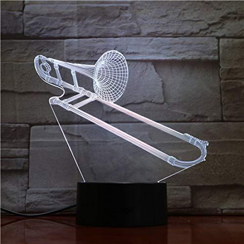 YDBDB Usb 3D Led Nachtlicht Posaune Multicolor Jungen Kind Kinder Baby Geschenke Musikinstrument Atmosphäre Tischlampe Nachttisch Neon